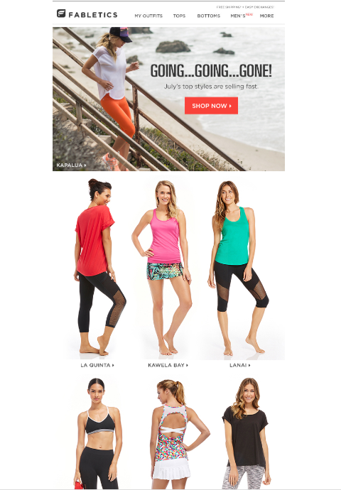 Fabletics newsletter